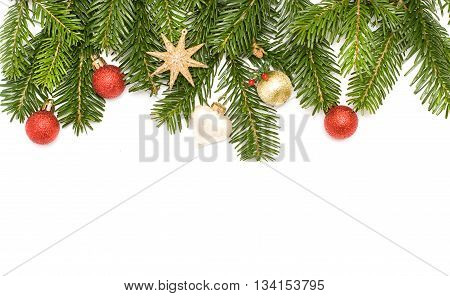 Christmas tree with decoration - border isolated