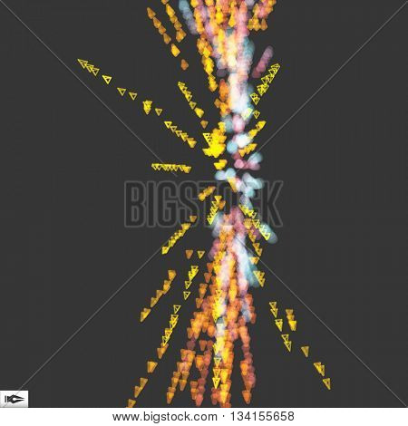 Array with Dynamic Emitted Particles. Abstract Dynamic Background. Composition with Motion Effect. Bokeh Effect. Vector Illustration.