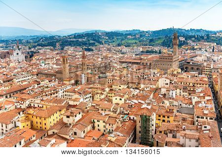 Cityscape of Florence from the campanile. Florence Tuscany Italy