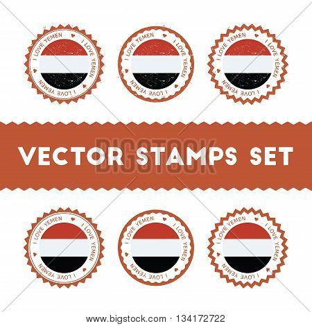 I Love Yemen Vector Stamps Set. Retro Patriotic Country Flag Badges. National Flags Vintage Round Si