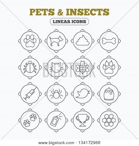 Linear icons with direction arrows. Pets and Insects icons. Dog paw. Cat paw with clutches. Bone, feces excrement and vaccination. Honey, bee and honey comb. Circle buttons.
