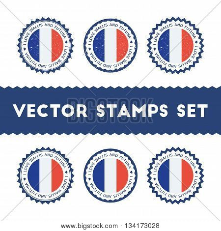I Love Wallis And Futuna Vector Stamps Set. Retro Patriotic Country Flag Badges. National Flags Vint