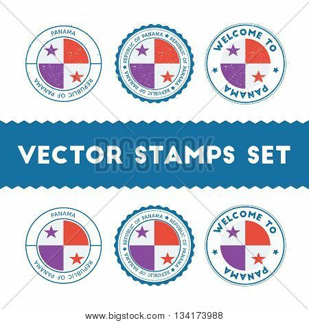 Panamanian Flag Rubber Stamps Set. National Flags Grunge Stamps. Country Round Badges Collection.