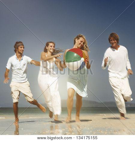 Relaxing Friendship Beach Summer Fun Concept