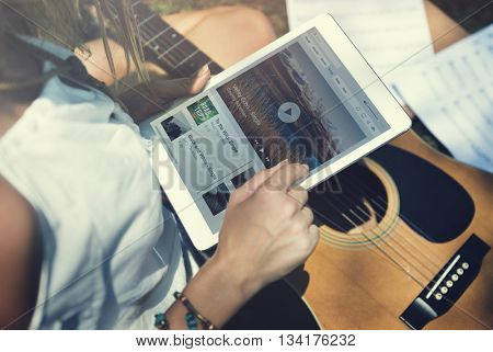 Music Steaming Multimedia Listening Digital Tablet Technology Concept