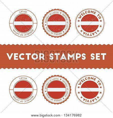 Latvian Flag Rubber Stamps Set. National Flags Grunge Stamps. Country Round Badges Collection.