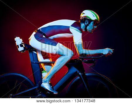 man cyclist cycling bicycle triathlon isolated