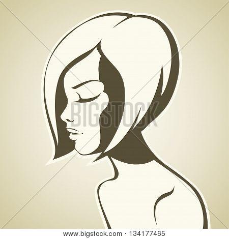Graphic girl with bob haircut. vector illustration