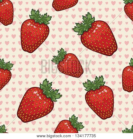 Seamless vector pattern with strawberries and hearts. Vector background