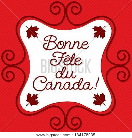 Doodle frame Canada Day maple leaf card in vector format. Translation: 'Happy Canada Day""