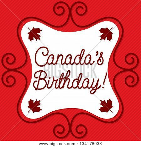 Doodle Frame Canada Day Maple Leaf Card In Vector Format.