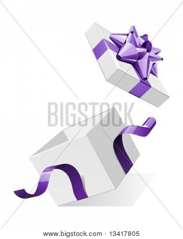 Vector open gift box with glossy violet bow