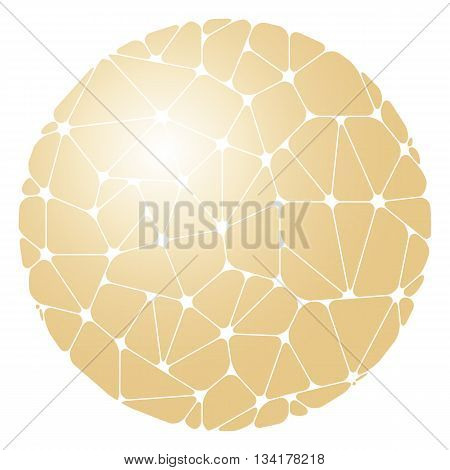 Abstract pattern of golden geometric elements grouped in a circle on a white background. Vector illustration.