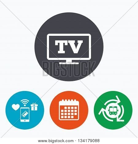 Widescreen TV sign icon. Television set symbol. Mobile payments, calendar and wifi icons. Bus shuttle.