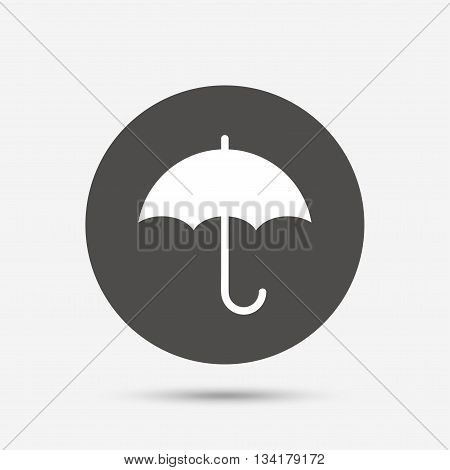 Umbrella sign icon. Rain protection symbol. Gray circle button with icon. Vector