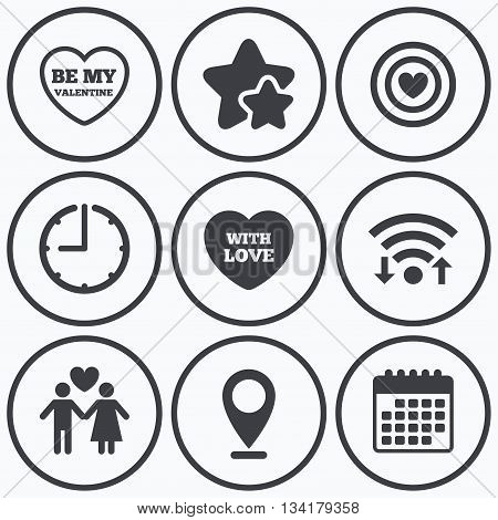 Clock, wifi and stars icons. Valentine day love icons. Target aim with heart symbol. Couple lovers sign. Calendar symbol.