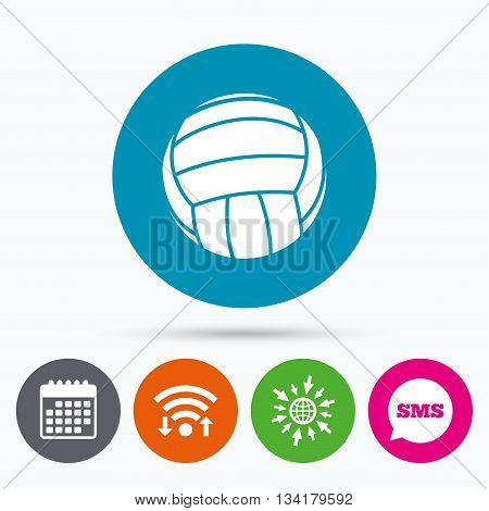 Wifi, Sms and calendar icons. Volleyball sign icon. Beach sport symbol. Go to web globe.
