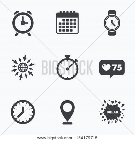 Calendar, like counter and go to web icons. Mechanical clock time icons. Stopwatch timer symbol. Wake up alarm sign. Location pointer.