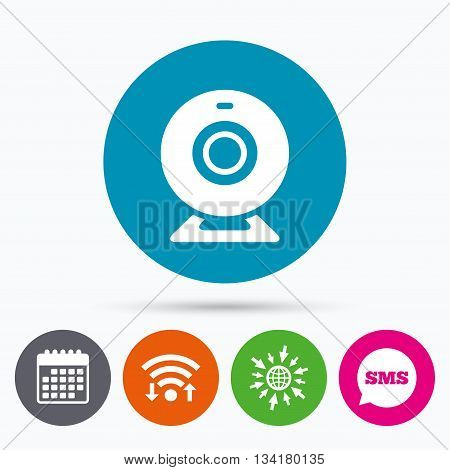 Wifi, Sms and calendar icons. Webcam sign icon. Web video chat symbol. Camera chat. Go to web globe.