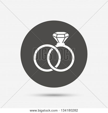 Wedding rings sign icon. Engagement symbol. Gray circle button with icon. Vector