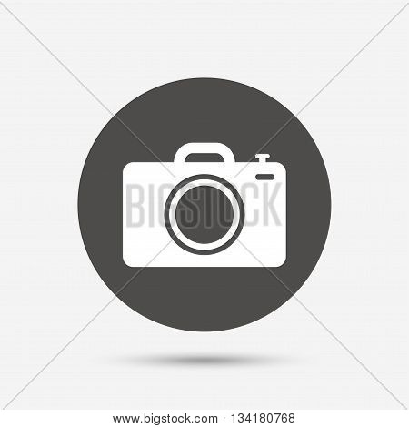 Photo camera sign icon. Digital photo camera symbol. Gray circle button with icon. Vector