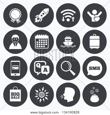Wifi, calendar and mobile payments. Online shopping, e-commerce and business icons. Startup, award and customers like signs. Cash money, shipment and sale symbols. Sms speech bubble, go to web symbols.