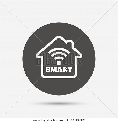Smart home sign icon. Smart house button. Remote control. Gray circle button with icon. Vector