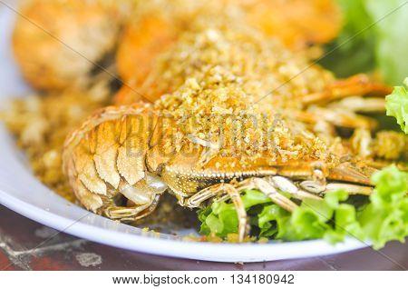 fried mantis shrimp dish or fried crayfish dish