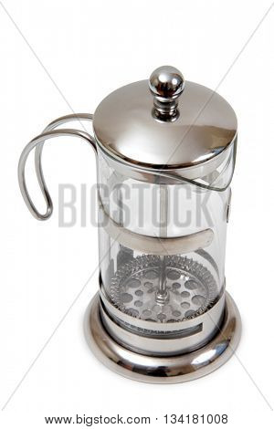 Metal and glass pots for coffee on a white background