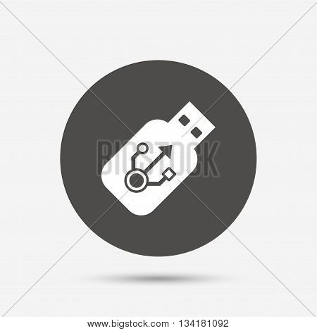 Usb sign icon. Usb flash drive stick symbol. Gray circle button with icon. Vector
