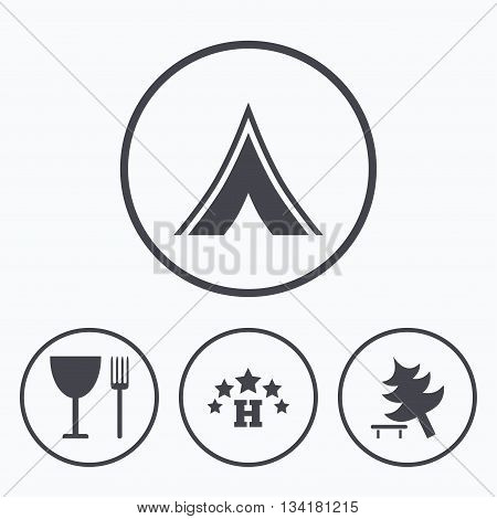 Food, hotel, camping tent and tree icons. Wineglass and fork. Break down tree. Road signs. Icons in circles.