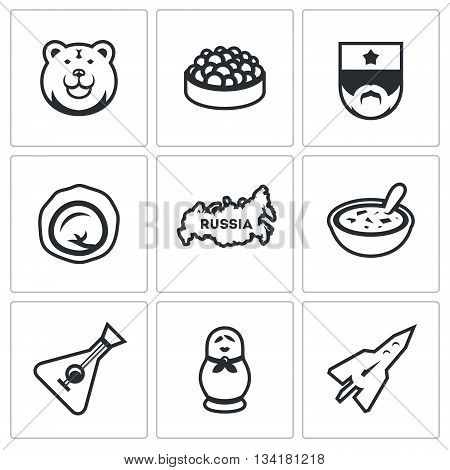 Symbols of Russian country, food, animal, souvenir, industry, music