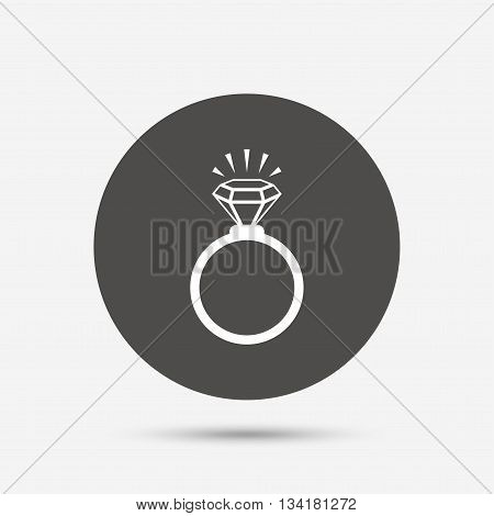 Ring sign icon. Jewelry with shine diamond symbol. Wedding or engagement day symbol. Gray circle button with icon. Vector