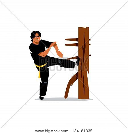 Man work out fighting skills. Isolated on a white background
