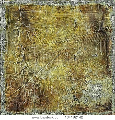 Highly detailed scratched texture, aged grungy background. Vintage style composition with different color patterns: yellow (beige); brown; gray; black
