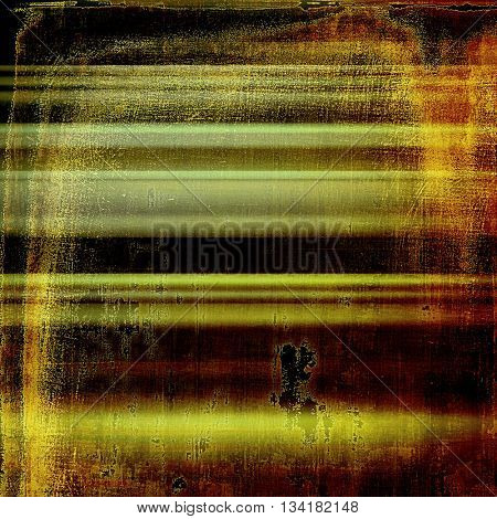 Grunge design composition over ancient vintage texture. Creative background with different color patterns: yellow (beige); brown; green; gray; red (orange); black