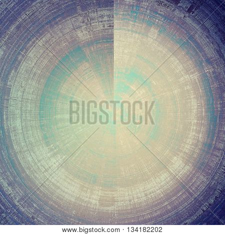 Spherical aged vintage background with weathered texture, grunge design elements and different color patterns: yellow (beige); brown; blue; gray; purple (violet)