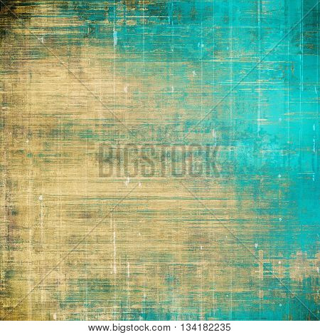 Weathered grunge elements on vintage texture for your design. Aged background with different color patterns: yellow (beige); brown; blue; gray; cyan