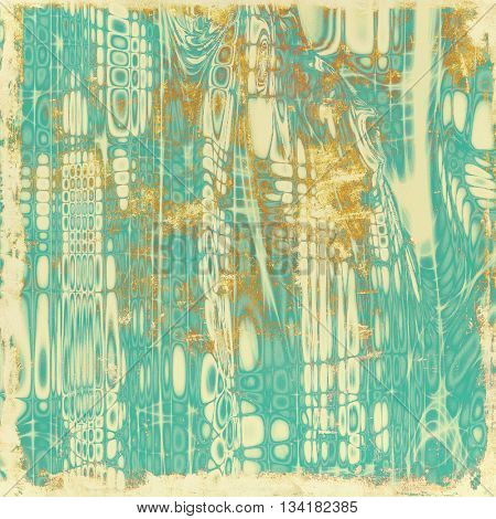 Highly detailed scratched texture, aged grungy background. Vintage style composition with different color patterns: yellow (beige); brown; blue; cyan
