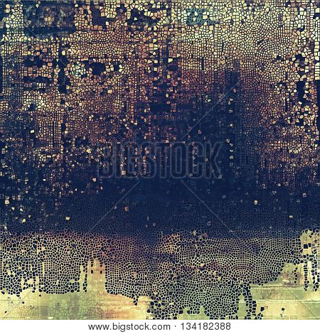 Weathered grunge elements on vintage texture for your design. Aged background with different color patterns: yellow (beige); brown; blue; gray; purple (violet)