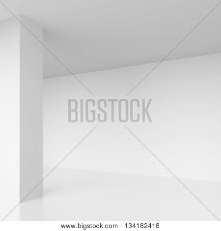 3d Rendering of White Empty Hall. Modern Architecture Background. Minimal Interior Design