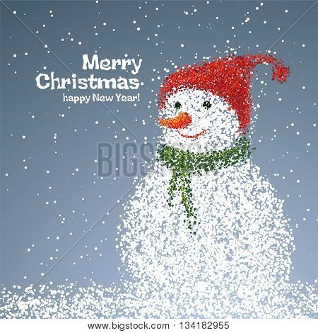 Snowman illustrations particles, it can be used New Year or Christmas card.