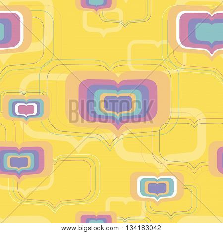 Multi-colored hearts - seamless pattern on an orange background