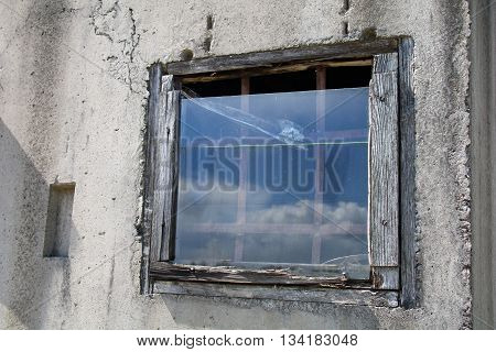 vintage brick wall background with old window