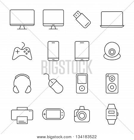 Electronic devices thin line icons. Vector illustration.