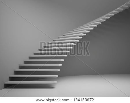 empty room with staircase 3D rendering