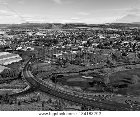An overhead view of the curve that leads into the small Central Oregon town of Prineville.