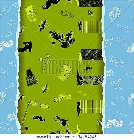 Retro Seamless Pattern with hipster items. Vintage fashion. White items with blue background. Black and yellow items with green background. Effect of paper ragged edge. Illustration.