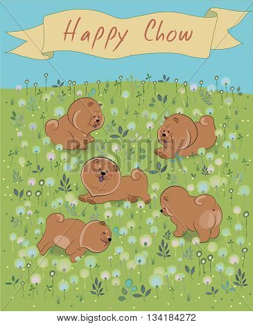 Happy Chow-chow on the blossoming field. Brown puppies. Watercolor flowers and plants. Yellow banner in the sky. Illustration.