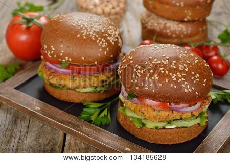 Healthy fast food veggie burger with vegetables